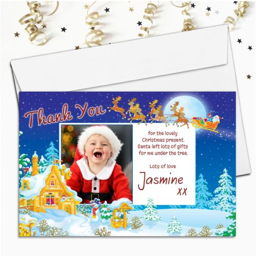 10 Personalised Christmas Xmas Thank you PHOTO Cards N14
